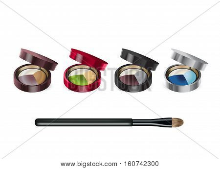 Eye shadows in different color of containers. Vector illustration realistic set color palette with eye shadows and brush.