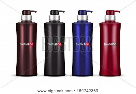 Herbal Shampoo in different color of packages. Vector illustration of realistic shampoo bottles isolated on white background.