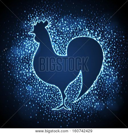 Neon sign of blue cock on disco background
