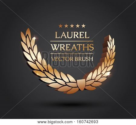 Wreath vector icon set .Laurel wreaths symbol of victory, glory and success. 3d vector illustration. Design element. Top places. Gold, silver, bronze laurel wreath.