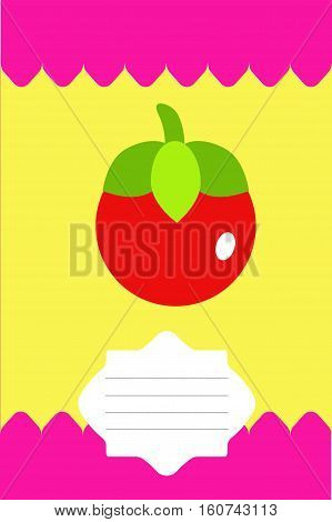 Fruit label, sticker, tag with tomato in a flat style.