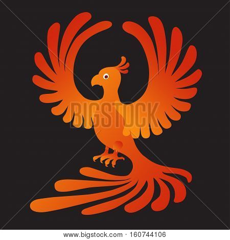 Vector illustration of the Phoenix on the black background. Fire-bird.