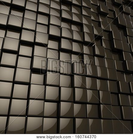 Abstract rounded glossy black cubes modern background. 3D rendering.
