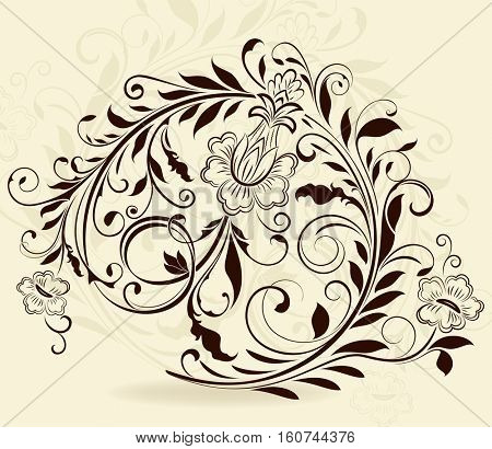 Vintage floral design element isolated on beige background.