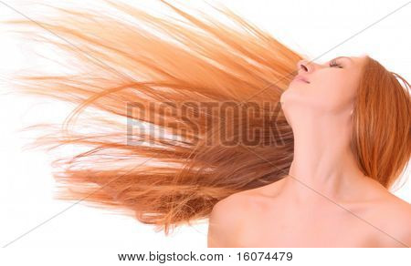 Young hot woman with hair uncurled with wind isolated on white