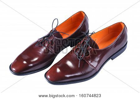 Men's Classic Leather Shoes with a slim elongated toe made from a smooth brown leather.