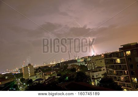 Lightning in the night city. Bangkok Thailand.