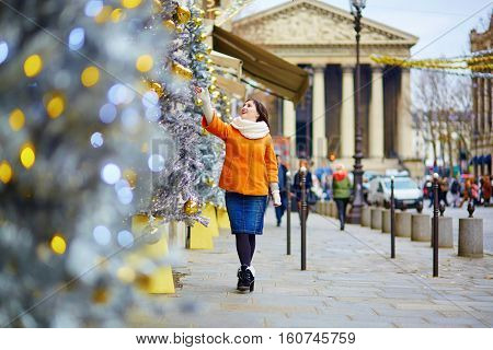 Cheerful Young Woman In Paris On A Winter Day