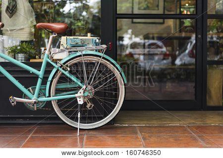 Bicycle Bike Vintage Cafe Shop Window Concept