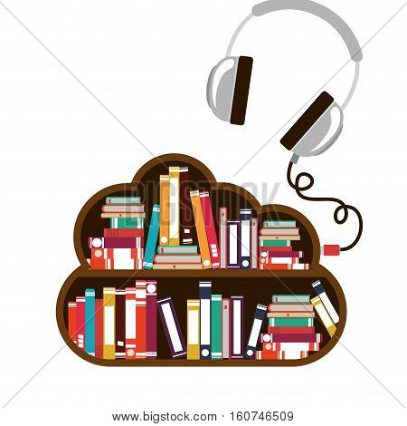Ebook and headphone icon. Download elearning reading and electronic theme. Isolated design. Vector illustration