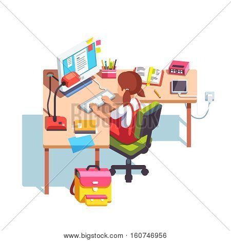 Young school kid girl studying sitting in front of desktop computer at her home desk. Doing homework at home table. Flat style color modern vector illustration.