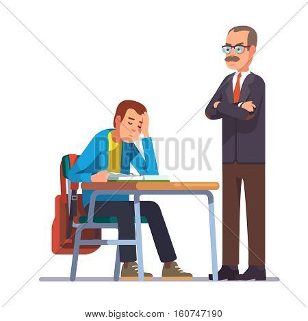 Professor or teacher looking with regret at a sleeping teen student sitting at his school desk. Flat style color modern vector illustration.