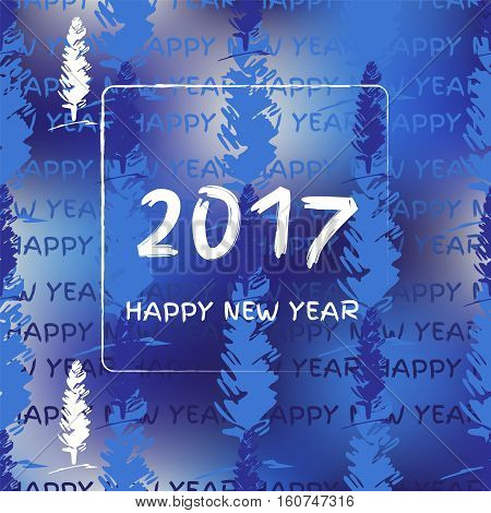 New year 2017. Winter vector templete with fir-tree.