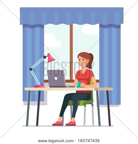 Young woman working on laptop computer at her home office working desk. Flat style color modern vector illustration.