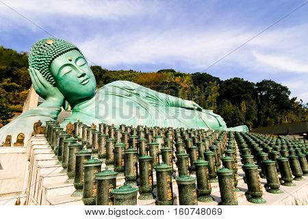 Nanzo-in Temple Shingon sect Buddhist temple in Sasaguri Fukuoka Prefecture Japan.bronze statue of a reclining Buddha the largest bronze statue in the world