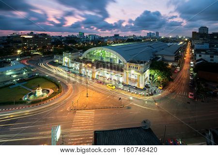 Bangkok central train station (Hua Lamphong Railway Station) is main railway station in Bangkok Thailand