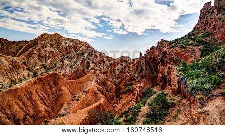 Panorama of Sakzka aka Fairytale canyon Issyk-Kul Kyrgyzstan poster