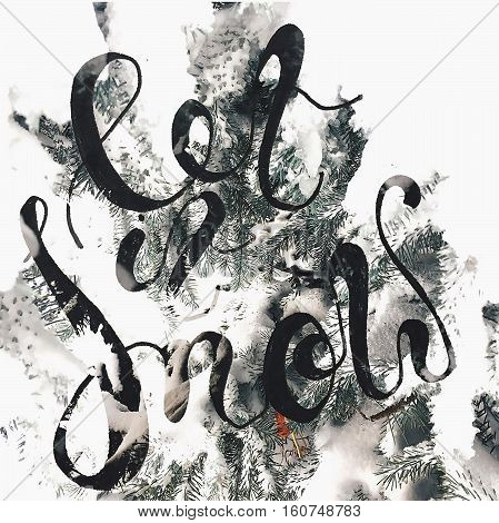 let it snow in december evening. winter handmade lettering