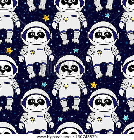 Panda astronaut and stars in space, cartoon style vector seamless patternv for textile, cover, wrapping paper, prints. Cute panda as spaceman in starry space, seamless pattern