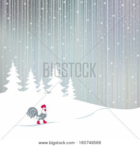 Rooster in red boots. Cartoon stylized symbol of New Year 2017 isolated on white background. Cock walking on a snowy winter the magical forest