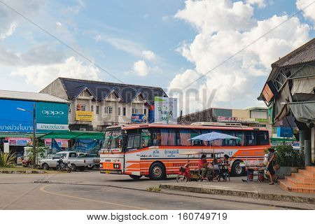 Takua Pa, Thailand - December 26, 2015: Bus stop in Takua Pa, Takua Pa District, Phang-nga, Thailand. Bus station on the main route to the tourist coast of the Andaman sea - Phuket Island and Khao Lak
