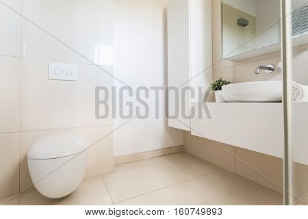 Minimalist Bathroom With Modern Toilet