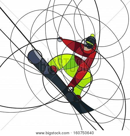Vector illustration snowboarder in red and green dress on white background. abstract image made with circles. winter sport