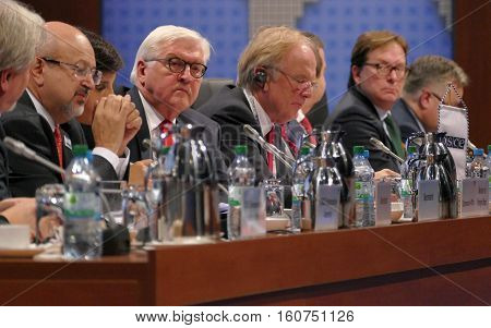 Hamburg, Germany. December 9Th 2016: German Foreign Minister Dr Frank-walter Steinmeier At The Closi