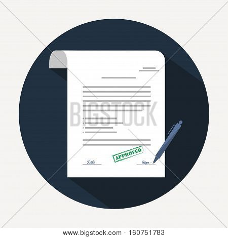 Document icon. Agreement (contract) in flat style with long shadow