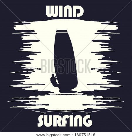 Windsurfing t-shirt graphic design. Artwork apparel stamp. Vector illustration