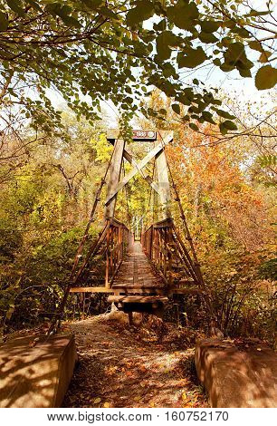 Old pedestrian suspension bridge with much overgrowth and path leading to it.