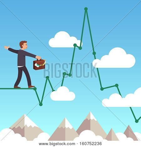 Business man balancing on a line graph rope above mountains and clouds in the sky. Risk management concept. Flat style vector illustration clipart.