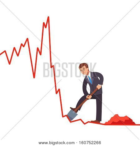Businessman broker trying to gain short profits on falling market. Digging cash with shovel on declining market shares on line graph. Market crisis concept. Flat style vector illustration clipart.
