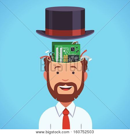 Computer brain head with motherboard and processor. Bearded smart business man silicon artificial intellect human in cylinder hat. Flat style vector illustration clipart.