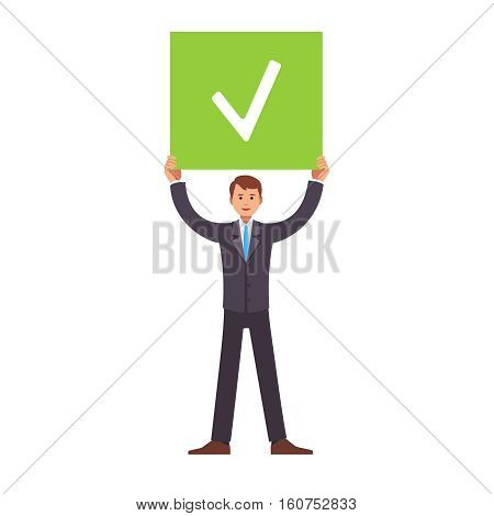 Business man standing and holding job done check sign in hands above his head. Flat style vector illustration clipart.