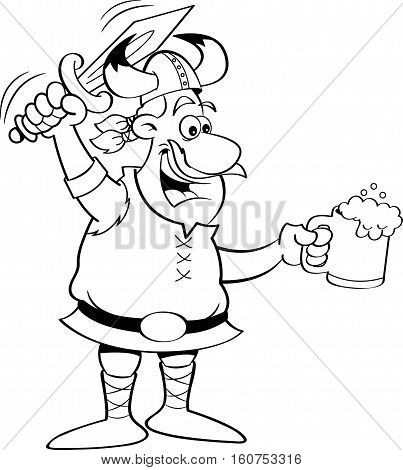 Black and white illustration of a Viking holding a sword and a mug.