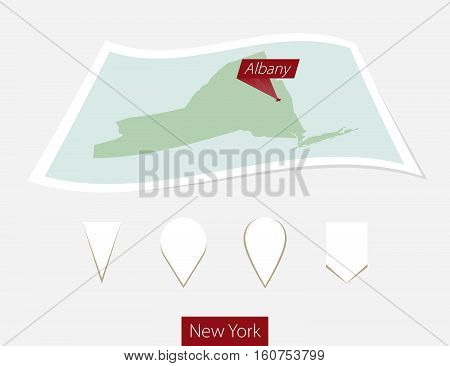 Curved Paper Map Of New York State With Capital Albany On Gray Background. Four Different Map Pin Se