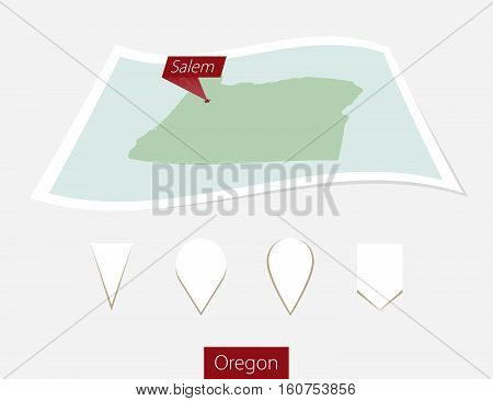 Curved Paper Map Of Oregon State With Capital Salem On Gray Background. Four Different Map Pin Set.