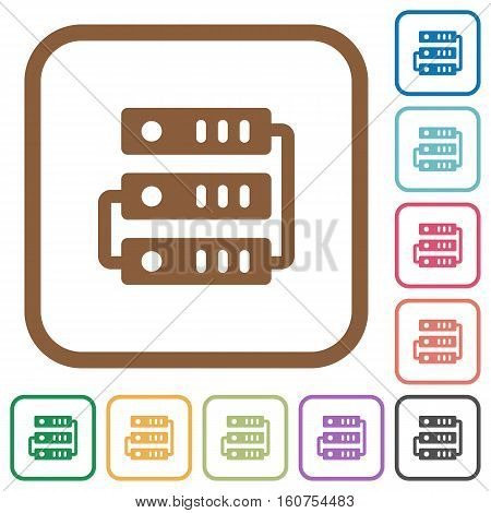 Servers simple icons in color rounded square frames on white background