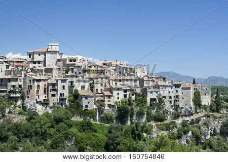 traditional hillside village inland from cannes in the south of france