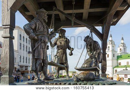 MINSK BELARUS - OCTOBER 1 2016: Sculptural composition