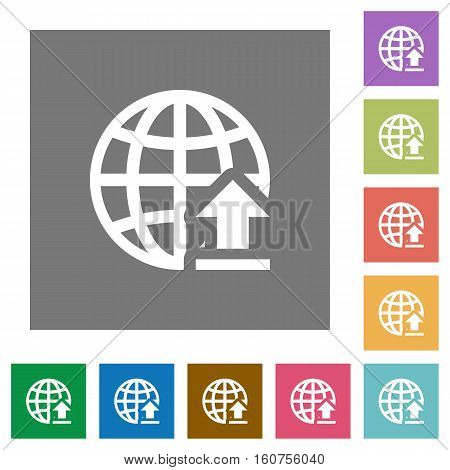 Upload to internet flat icons on simple color square background.