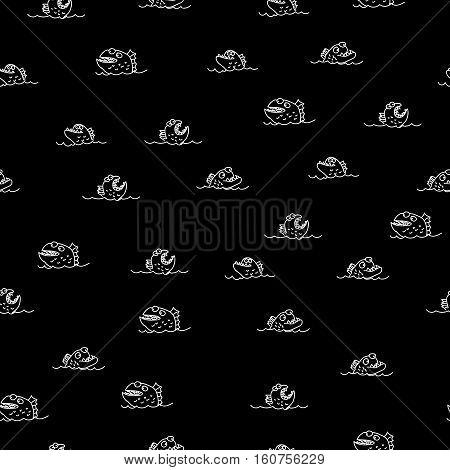 Piranha seamless pattern. Many bloodthirsty marine predators. Marine vector background. Texture of Evil fish. Flock of dangerous Piranha
