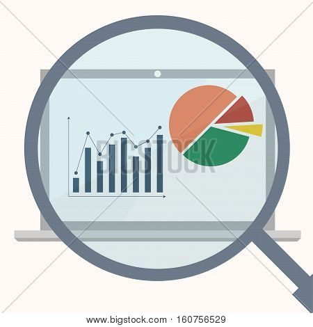 Analytics display with magnifier. Business analytics market data