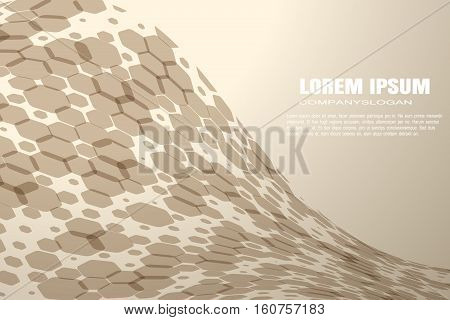 Vector abstract brown background with hexagon shapes different opacity and various silhouettes.
