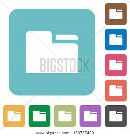 Tab folder flat icons on simple color square background.