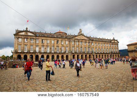 SANTIAGO SPAIN - AUGUST 17: View of the Raxoi Palace in Santiago de Compostela on August 17 2016