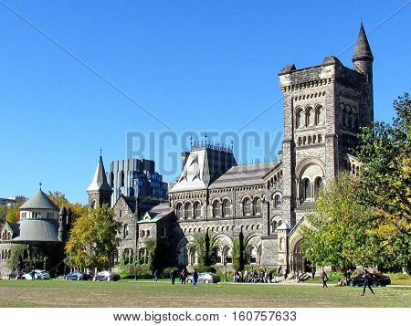 Toronto Canada - October 23 2015: Main building of the University of Toronto.