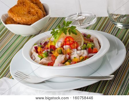 Ceviche typical dish from Central and South America Ecuador style