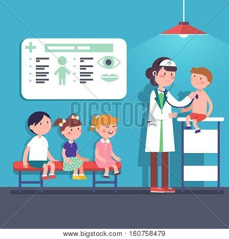 Pediatrician doctor woman doing medical examination of kids. Listening to kid heart rate with stethoscope. Modern flat style vector illustration cartoon clipart.